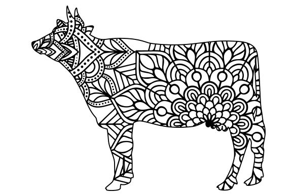 Download Free Cow Mandala Line Art Style Svg Cut File By Creative Fabrica for Cricut Explore, Silhouette and other cutting machines.