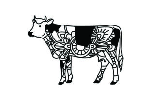 Cow. Mandala Line Art Style (for Coloring Book) Craft Design By Creative Fabrica Crafts