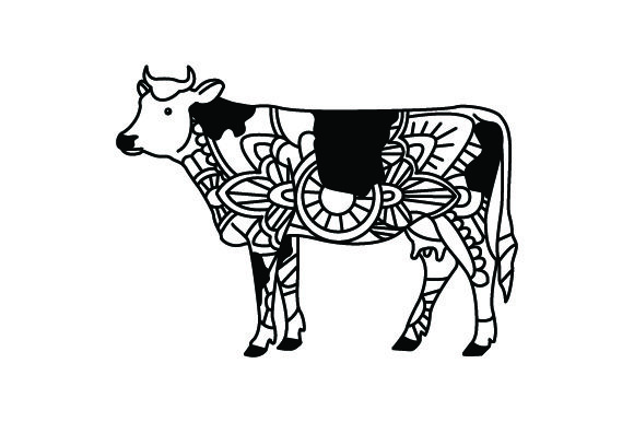 Download Free Cow Mandala Line Art Style For Coloring Book Svg Cut File By for Cricut Explore, Silhouette and other cutting machines.