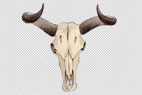 Print on Demand: Cow Skull Watercolor Graphic Illustrations By MyStocks - Image 2