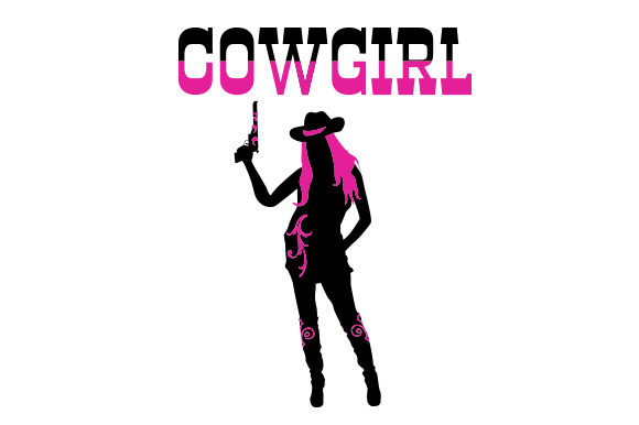 Download Free Cowgirl Silhouette With Pink Hair Svg Cut File By Creative for Cricut Explore, Silhouette and other cutting machines.