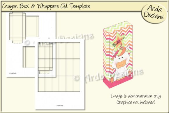 Download Free Crayon Box Wrappers Cu Template Graphic By Arda Designs for Cricut Explore, Silhouette and other cutting machines.