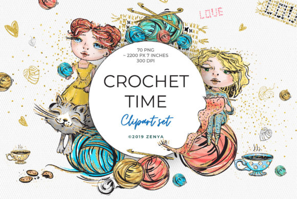 Crochet Time Clipart Set Graphic By Ramandu Creative Fabrica