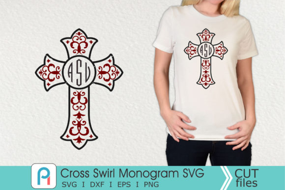 Cross Swirl Monogram Svg, Cross Svg Graphic Crafts By Pinoyartkreatib