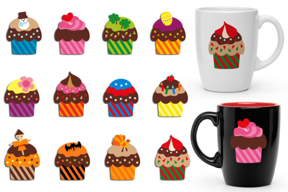 Print on Demand: Cupcake Holidays Graphic Illustrations By Revidevi