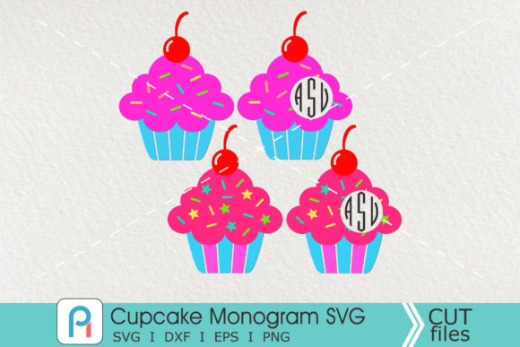 Cupcake Monogram Svg, Cupcake Svg Graphic Crafts By Pinoyartkreatib