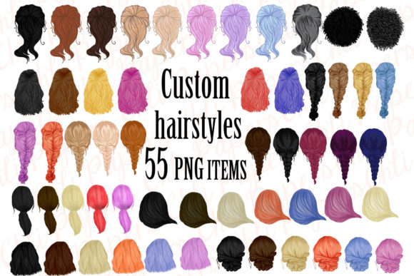 Custom Hairstyles Clipart Graphic Crafts By ChiliPapers