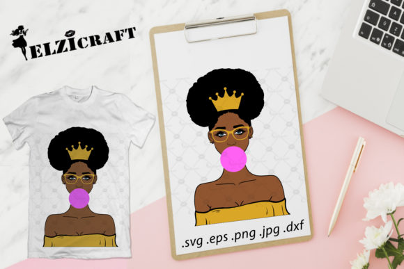 Download Free Cute Afro Girl Melanin Poppin Design Graphic By Elzicraft for Cricut Explore, Silhouette and other cutting machines.