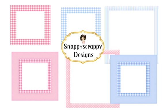 Cute Baby Pink and Blue Frames Graphic Illustrations By Snappyscrappy - Image 3
