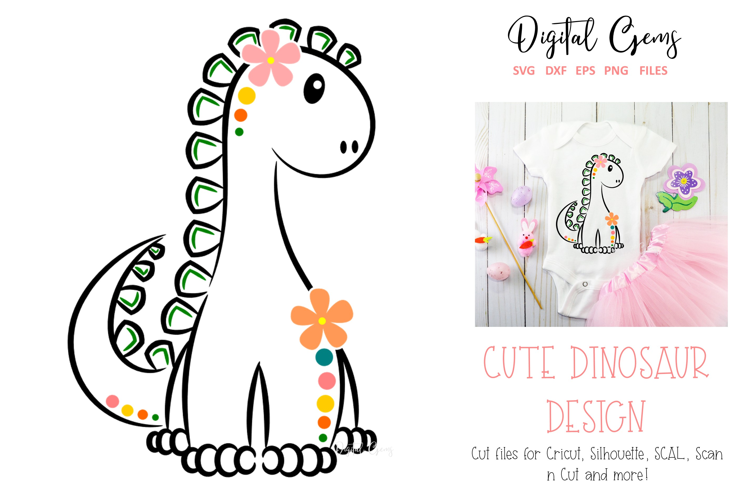 Download Free Cute Dinosaur Graphic By Digital Gems Creative Fabrica for Cricut Explore, Silhouette and other cutting machines.