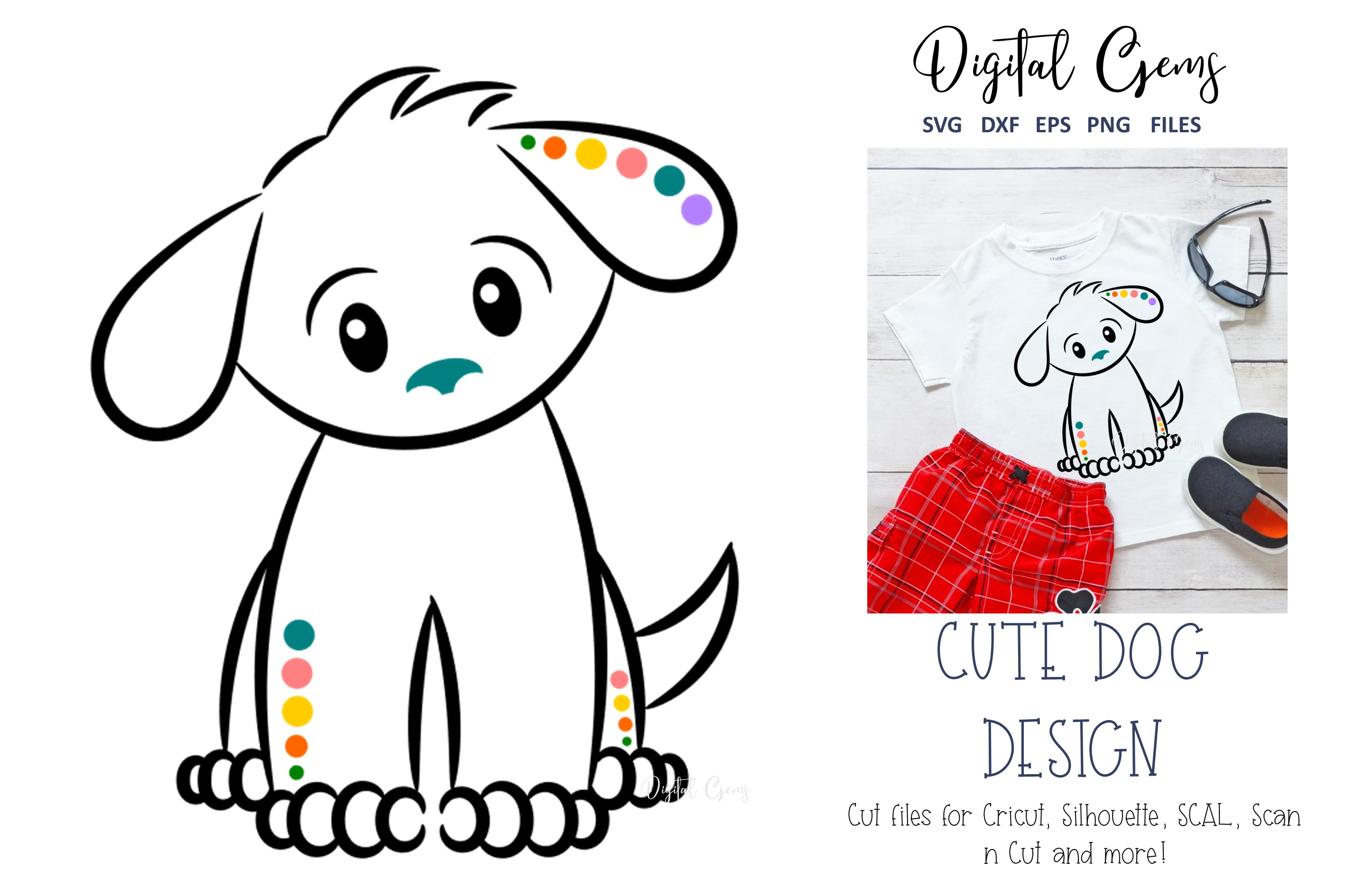 Download Free Cute Dog Graphic By Digital Gems Creative Fabrica for Cricut Explore, Silhouette and other cutting machines.