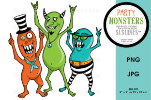 Cute Monster Dance Party Graphic By SLS Lines