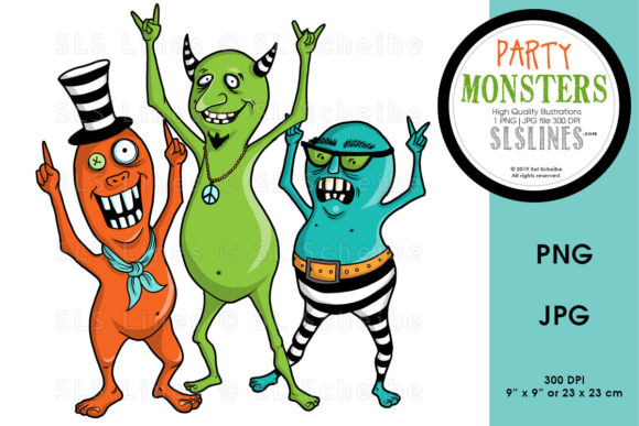 Print on Demand: Cute Monster Dance Party Graphic Illustrations By SLS Lines