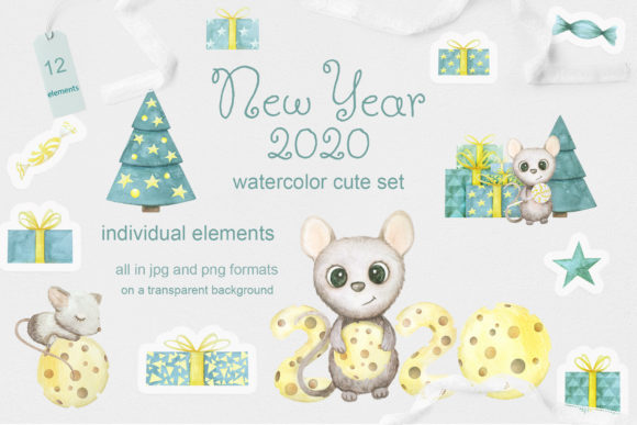 Print on Demand: Cute Mouse Set of New Year 2020 Graphic Illustrations By Natalia Arkusha