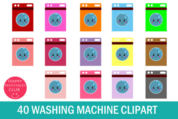 Print on Demand: Cute Washing Machine Clipart Graphics Graphic Illustrations By Happy Printables Club