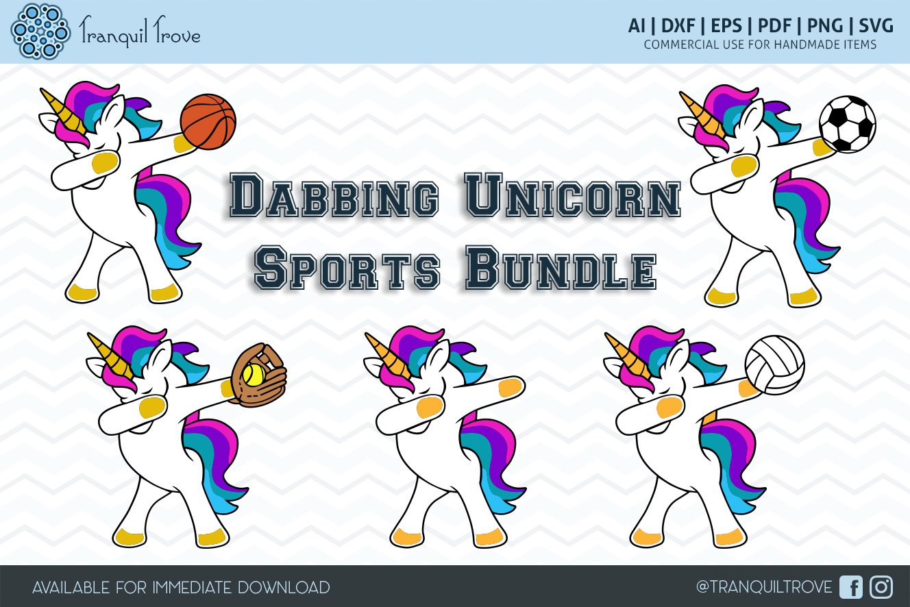 Download Free Dabbing Unicorn Sports Bundle Graphic By Lori Peters Creative for Cricut Explore, Silhouette and other cutting machines.