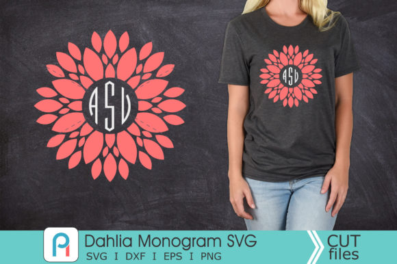 Dahlia Monogram Svg, Dahlia Svg, Dahlia Graphic Crafts By Pinoyartkreatib
