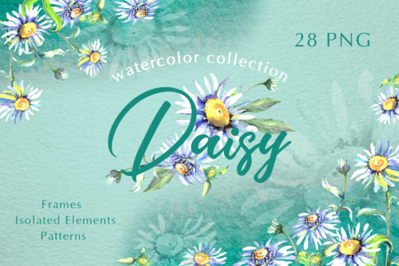 Print on Demand: Daisy Flower Green Watercolor Graphic Illustrations By MyStocks