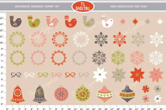 Decorative Reindeer Clipart Set Graphic By Tl Digital Creative Fabrica