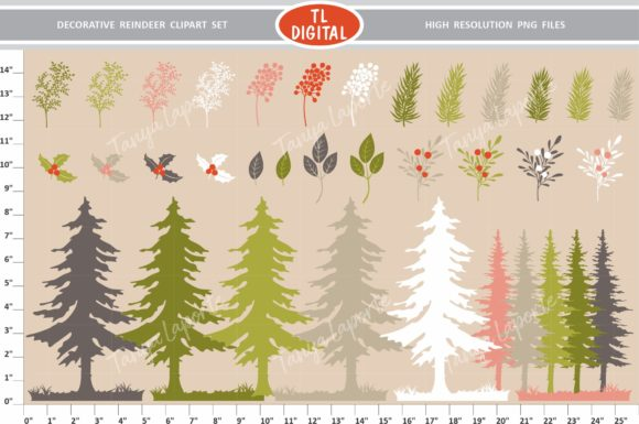 Download Free Decorative Reindeer Clipart Set Graphic By Tl Digital Creative for Cricut Explore, Silhouette and other cutting machines.