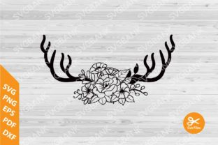 Deer Antlers Floral Graphic By svgBank