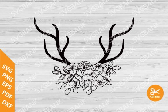 Download Free Deer Antlers Floral Graphic By Svgbank Creative Fabrica for Cricut Explore, Silhouette and other cutting machines.