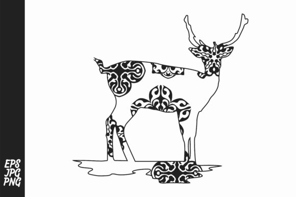 Download Free Deer Mandala Line Art Style Graphic By Arief Sapta Adjie for Cricut Explore, Silhouette and other cutting machines.