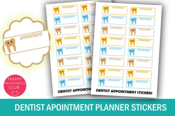Print on Demand: Dentist Appointment Planner Stickers Graphic Crafts By Happy Printables Club