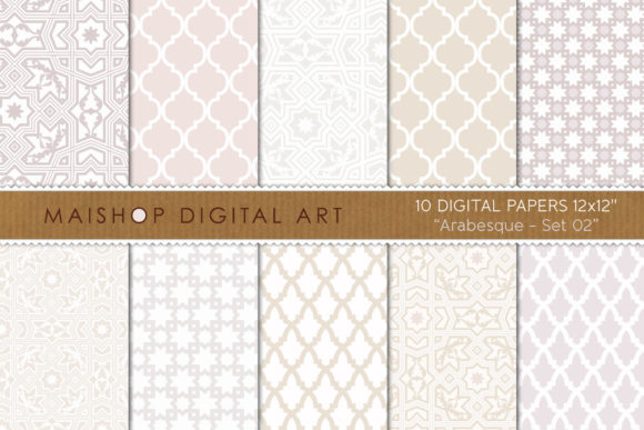 Print on Demand: Digital Paper Arabesque Set 02 Graphic Patterns By Maishop