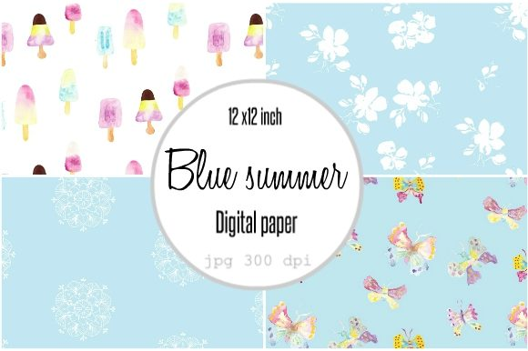 Print on Demand: Digital Paper Blue Popsicles Summer Graphic Patterns By Anines Atelier - Image 1