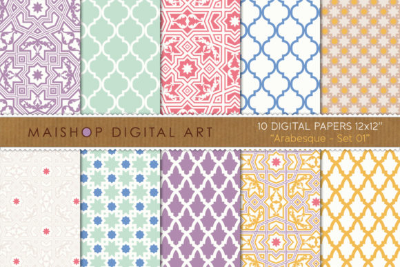 Print on Demand: Digital Paper Pack Arabesque Set 01 Graphic Patterns By Maishop