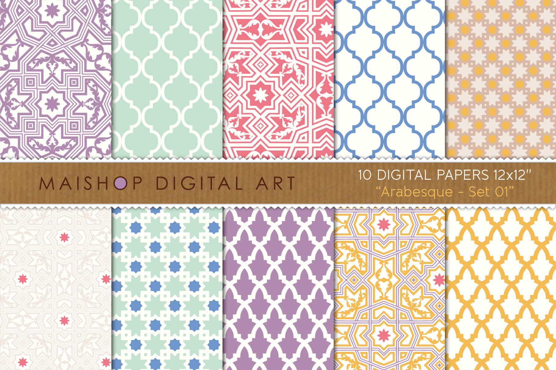 Download Free Digital Paper Pack Arabesque Set 01 Graphic By Maishop for Cricut Explore, Silhouette and other cutting machines.