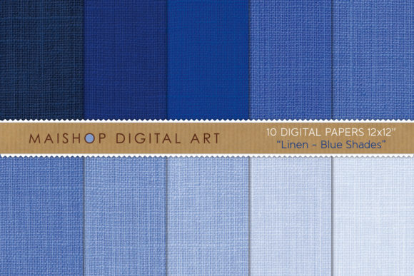 Print on Demand: Digital Paper Pack Linen Blue Shades Graphic Textures By Maishop