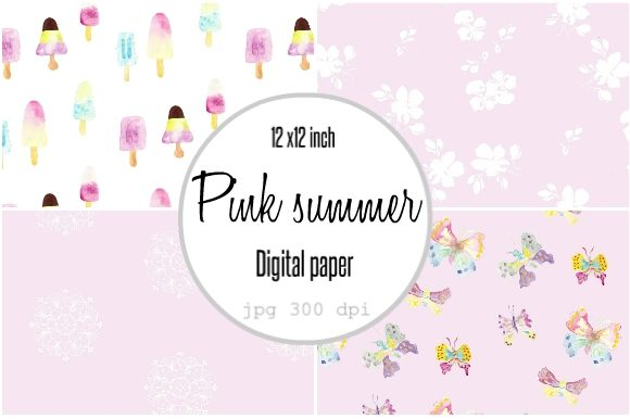 Print on Demand: Digital Paper Pink Popsicles Summer Graphic Patterns By Anines Atelier