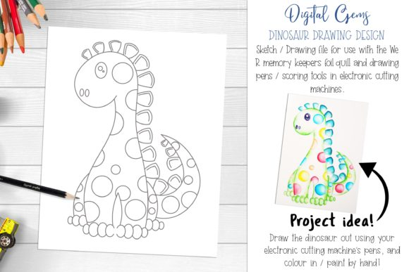 Download Free Dinosaur Foil Quill Drawing Design Graphic By Digital Gems for Cricut Explore, Silhouette and other cutting machines.