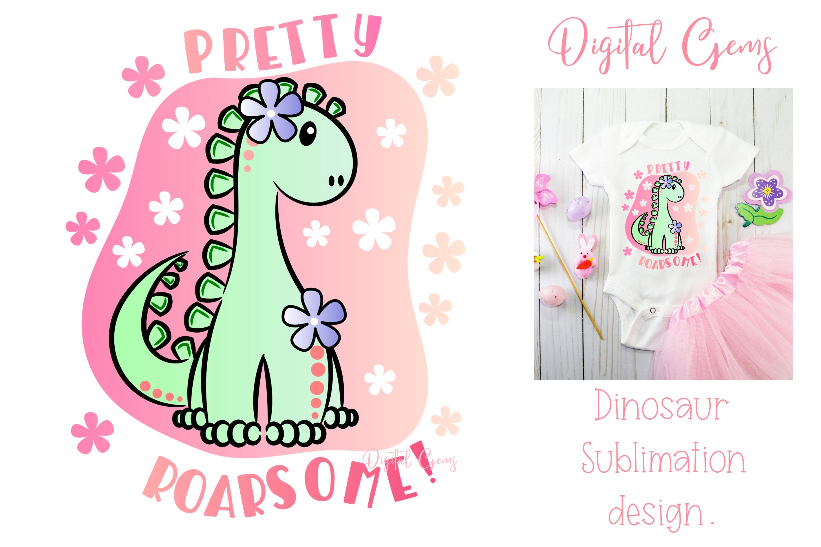 Download Free Dinosaur Sublimation Design Graphic By Digital Gems Creative for Cricut Explore, Silhouette and other cutting machines.