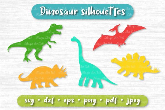 Download Free Dinosaur Silhouettes Graphic By Magicartlab Creative Fabrica for Cricut Explore, Silhouette and other cutting machines.