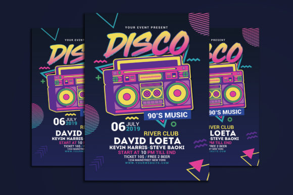 Download Free Disco Retro Music Party Graphic By Muhamadiqbalhidayat for Cricut Explore, Silhouette and other cutting machines.