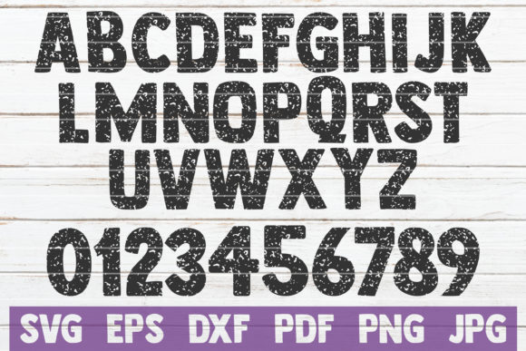 Distressed Alphabet and Numbers SVG Graphic Crafts By MintyMarshmallows - Image 1
