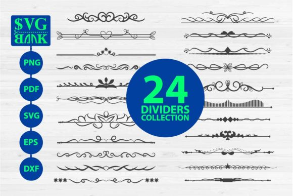 Print on Demand: Divider Collections, 24 Text Divider Graphic Illustrations By svgBank