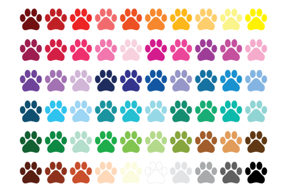 Print on Demand: Dog Paw Print Clip Art Graphic Objects By Running With Foxes - Image 2