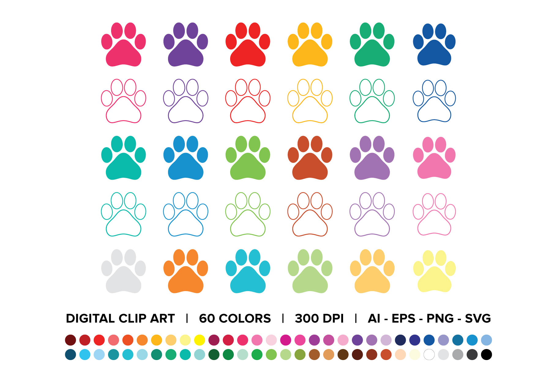 Download Free Dog Paw Print Clip Art Graphic By Running With Foxes Creative for Cricut Explore, Silhouette and other cutting machines.