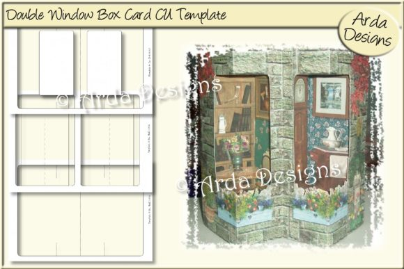 Print on Demand: Double Window Box Card CU Template Graphic Print Templates By Arda Designs