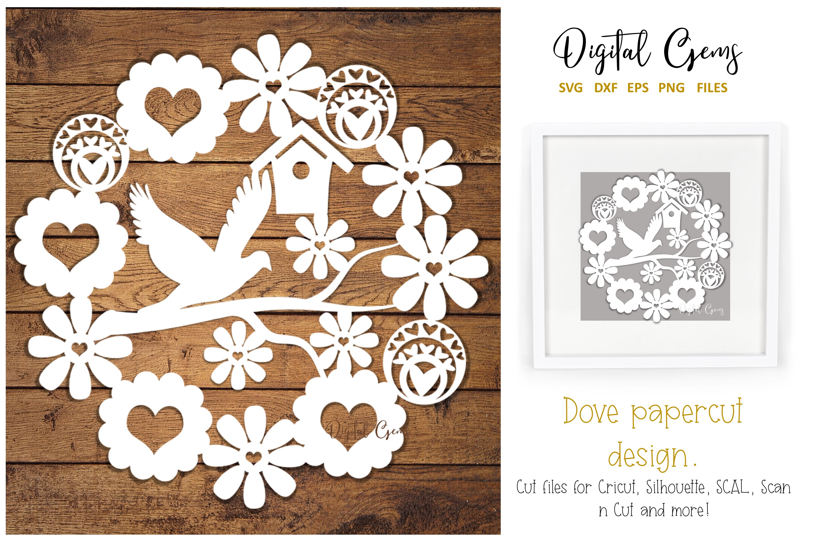 Download Free Dove Paper Cut Design Graphic By Digital Gems Creative Fabrica for Cricut Explore, Silhouette and other cutting machines.