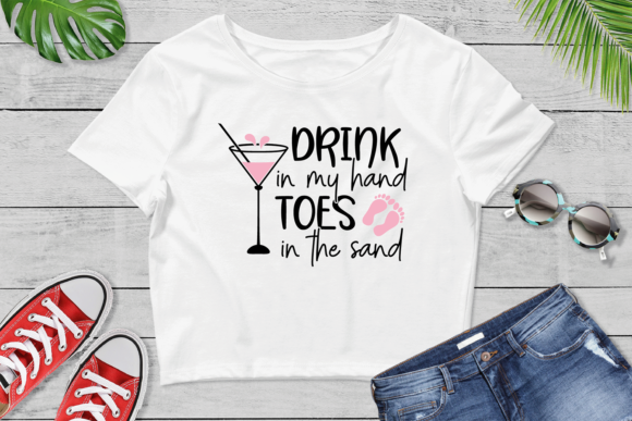 Download Free Drink In My Hand Toes In The Sand Svg Graphic By Vr Digital for Cricut Explore, Silhouette and other cutting machines.