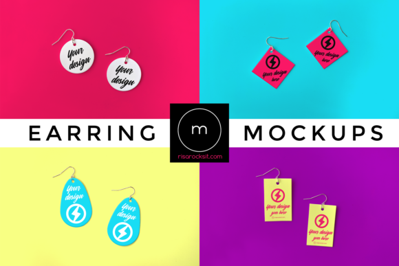 Earring Product Mock Up Set Graphic Product Mockups By RisaRocksIt