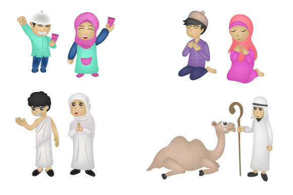 Download Free Eid Mubarak Islamic Character Graphic By Iop Micro Creative for Cricut Explore, Silhouette and other cutting machines.