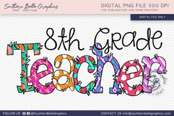 Eighth Grade Teacher Graphic Crafts By Southern Belle Graphics - Image 1