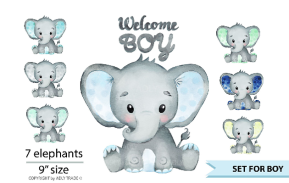 Print on Demand: Elephant Boy Watercolor Clip Art Graphic Print Templates By adlydigital