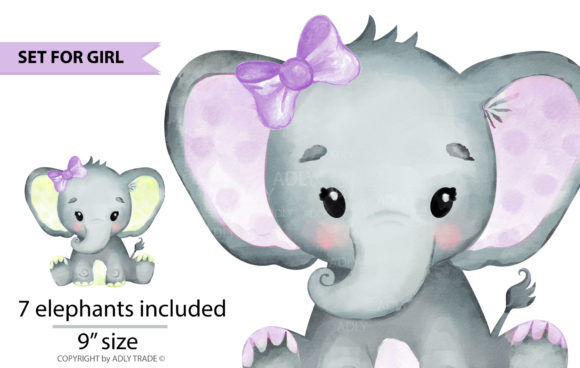 Download Free Elephant Girl Watercolor Clipart Set Graphic By Adlydigital for Cricut Explore, Silhouette and other cutting machines.